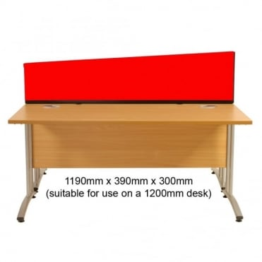 Desk Screen, Angled, 1190mm x 390mm x 300mm, Woolmix Fabric