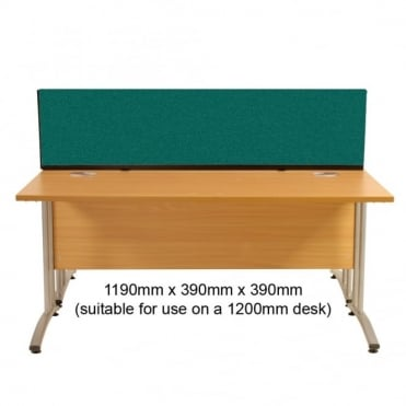 Desk Screen, Straight, 1190mm x 390mm x 390mm, Woolmix Fabric