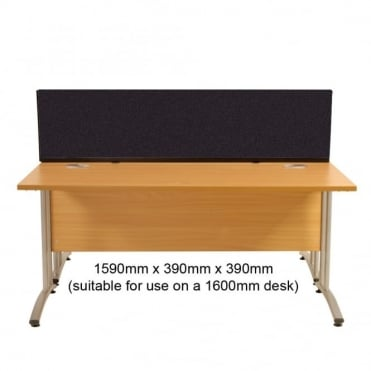 Desk Screen, Straight, 1590mm x 390mm x 390mm, Woolmix Fabric