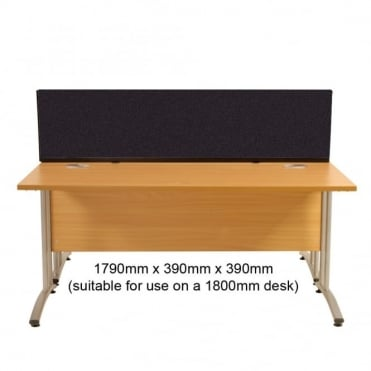 Desk Screen, Straight, 1790mm x 390mm x 390mm, Woolmix Fabric