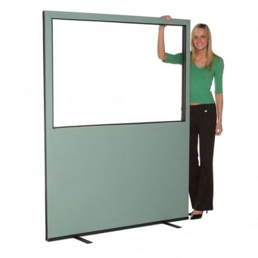 Glazed Office Screen 1500mm w x 1800 mm h, woolmix fabric