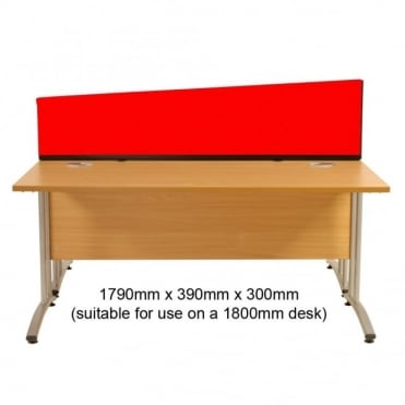 Desk Screen, Angled, 1790mm x 390mm x 300mm, Woolmix Fabric