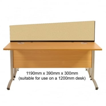 Angled Desk Mounted Partition 1190mm w x 390mm x 300mm h, Woolmix Fabric