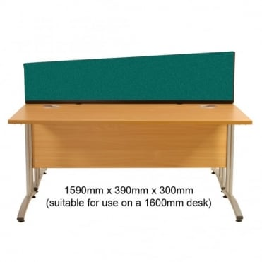 Angled Desk Mounted Partition 1590mm w x 390mm x 300mm h, Woolmix Fabric