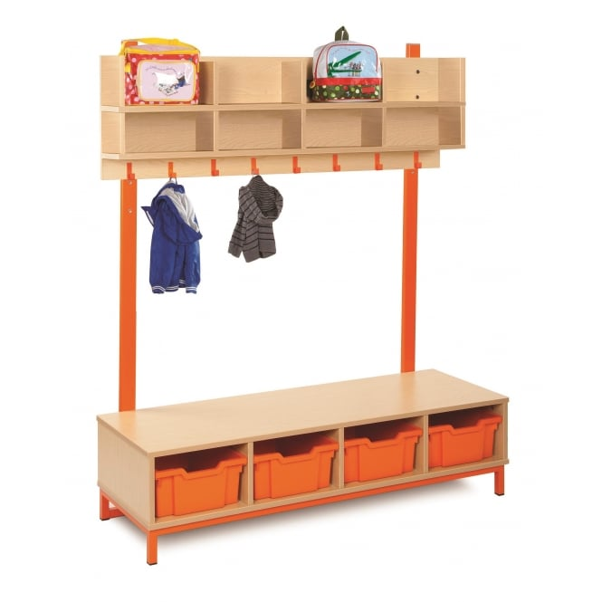 Bubblegum Cloakroom Storage Unit with Coat Hooks and Trays
