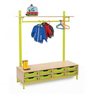 Bubblegum Cloakroom Unit with Shelf, Rail and Trays