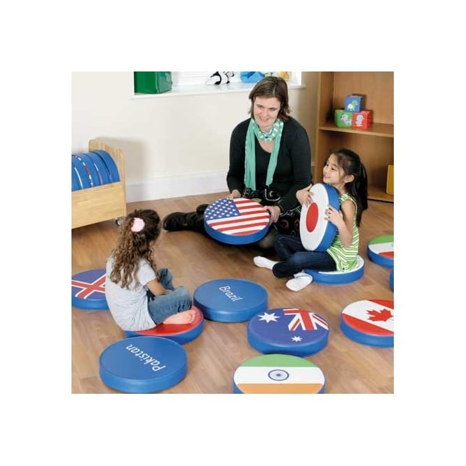 Children of the World™ World Flag Cushions with Storage Trolley