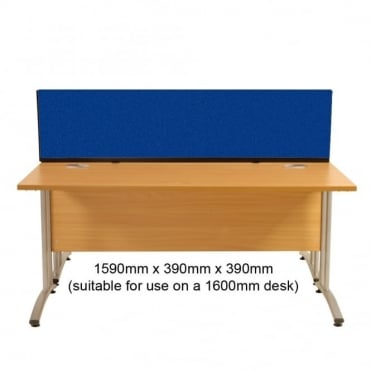 Desk Mounted Partition 1590mm w x 390mm x 390mm h, Woolmix Fabric