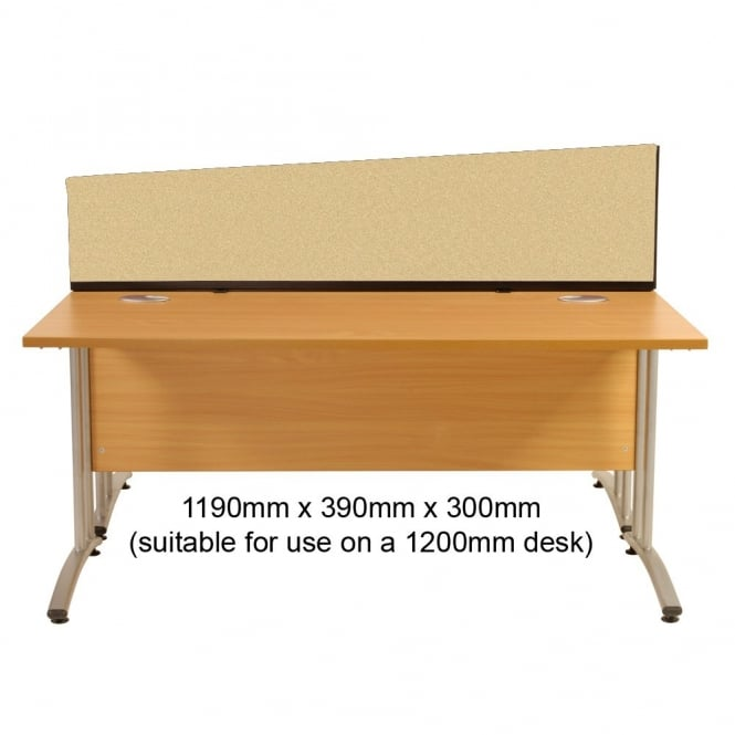Desk Screen Dividers, Angled, 1190mm x 390mm x 300mm, Woolmix Fabric