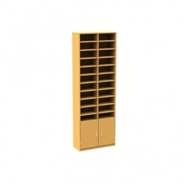 Freestanding 22 pigeon hole unit with cupboard