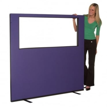 Glazed Office Partition 1645mm w x 1500mm h, woolmix fabric
