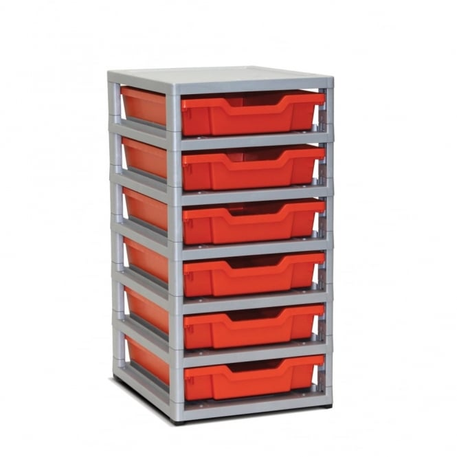 Gratstack - Single Column with 6 Shallow Trays