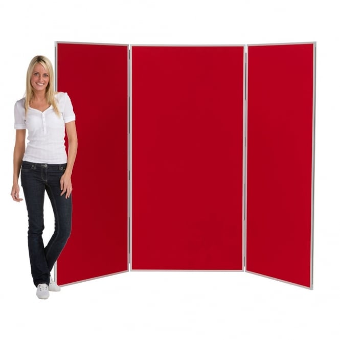 Large Folding Display Boards, Red 3 Panel From Panel Warehouse