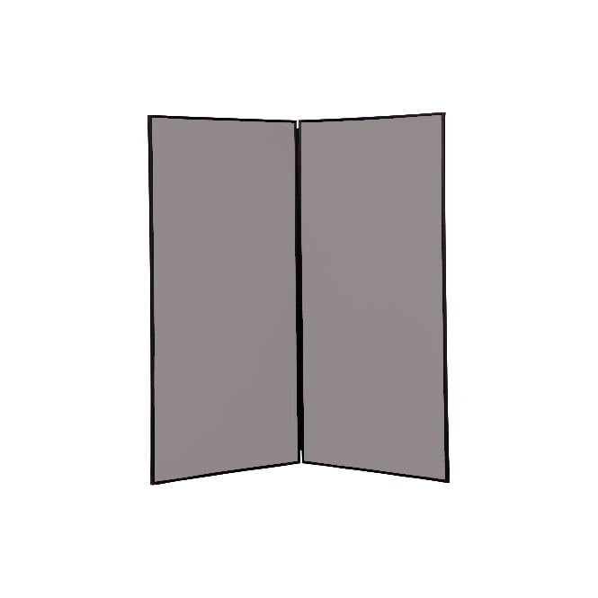 Large Folding School Display Boards, 2 Panel, Grey Fabric