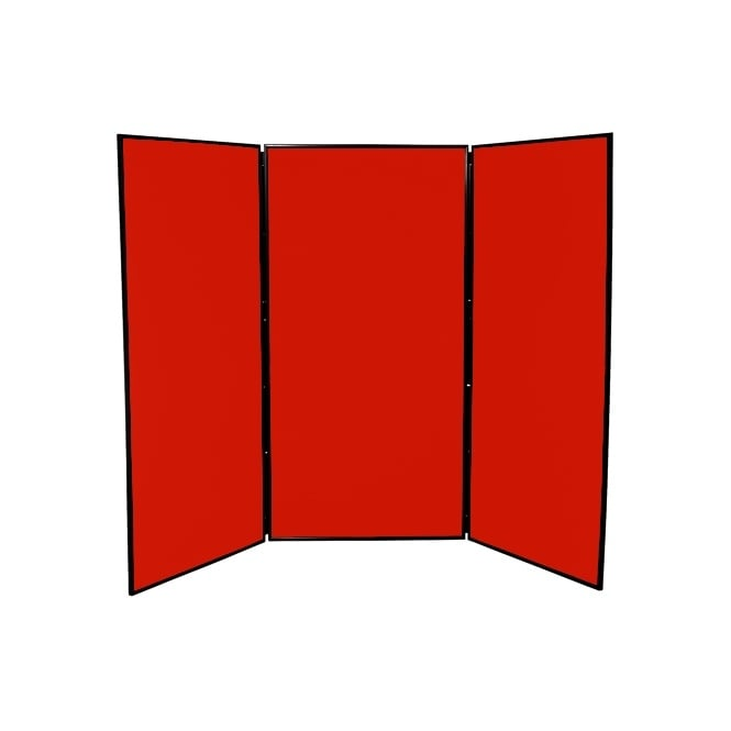Large Folding School Display Boards, 3 Panel, Red Fabric
