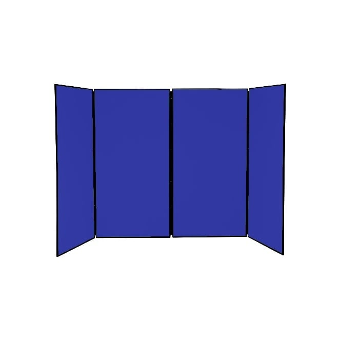 Large Folding School Display Boards, 4 Panel, Blue Fabric
