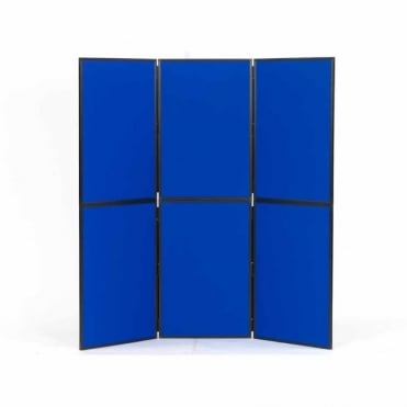 Lightweight Folding Display Boards, 6 Panel, Blue Fabric