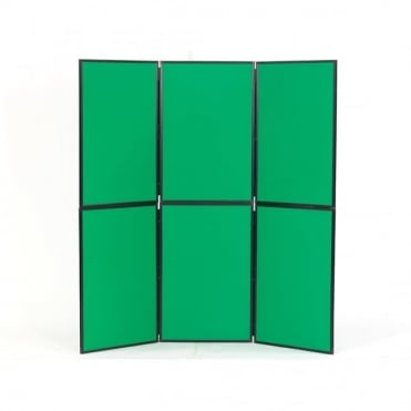 Lightweight Folding Display Boards, 6 Panel, Green Fabric
