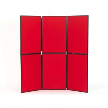 Lightweight Folding Display Boards, 6 Panel, Red Fabric