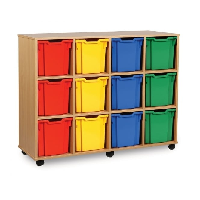 Mobile 12 Jumbo Tray Storage Unit