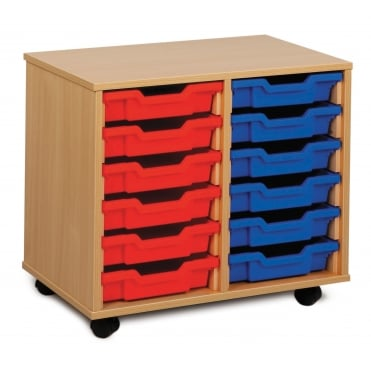Mobile 12 Shallow Tray Storage Unit