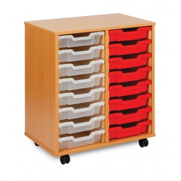 Mobile 16 Shallow Tray Storage Unit