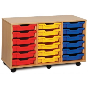 Mobile 18 Shallow Tray Storage Unit