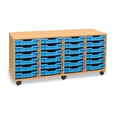 Mobile 24 Shallow Tray Storage Unit