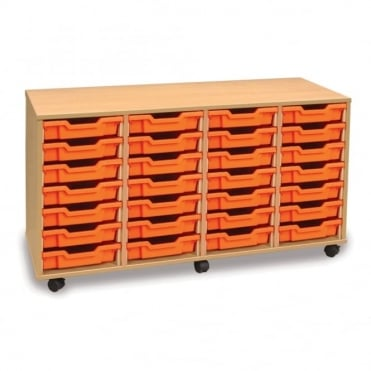 Mobile 28 Shallow Tray Storage Unit