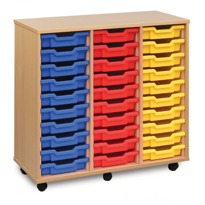 Mobile 30 Shallow Tray Storage Unit