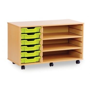 Mobile 6 Shallow Tray Storage Unit with 2 Shelves