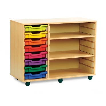 Mobile 8 Tray Shallow Storage Unit with 2 Shelves