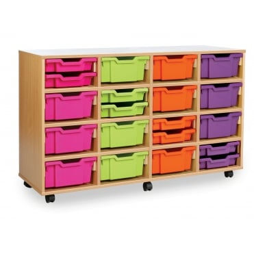 Mobile Combination Storage Unit with 32 Shallow or 16 Deep Trays