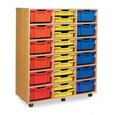 Mobile Combination Storage Unit with 36 Shallow or 18 Deep Trays