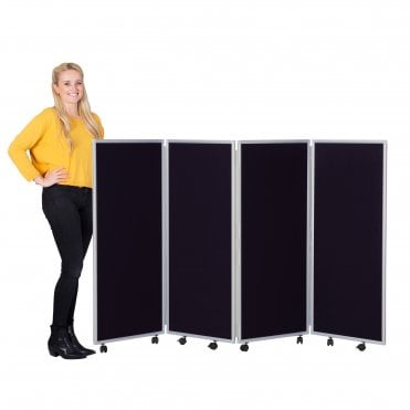 Mobile Concertina Screens 1200mm high Woolmix Fabric