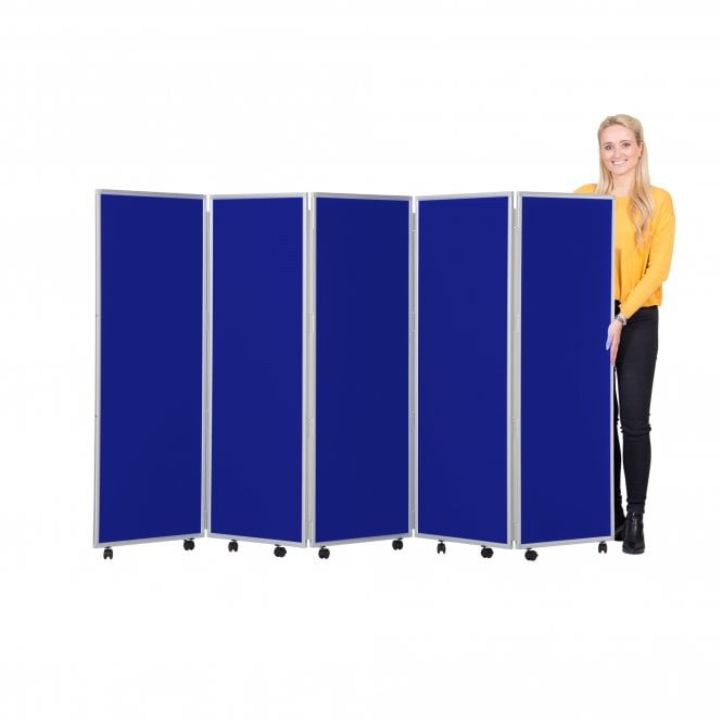 Mobile Folding Room Divider 1500mm high Woolmix Fabric