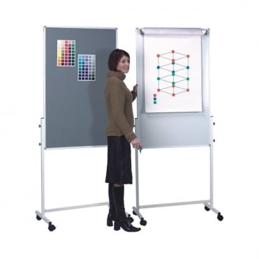 Mobile Notice Board/ Flip Chart / Drywipe Board inc 5 pack of Flip Chart Pads