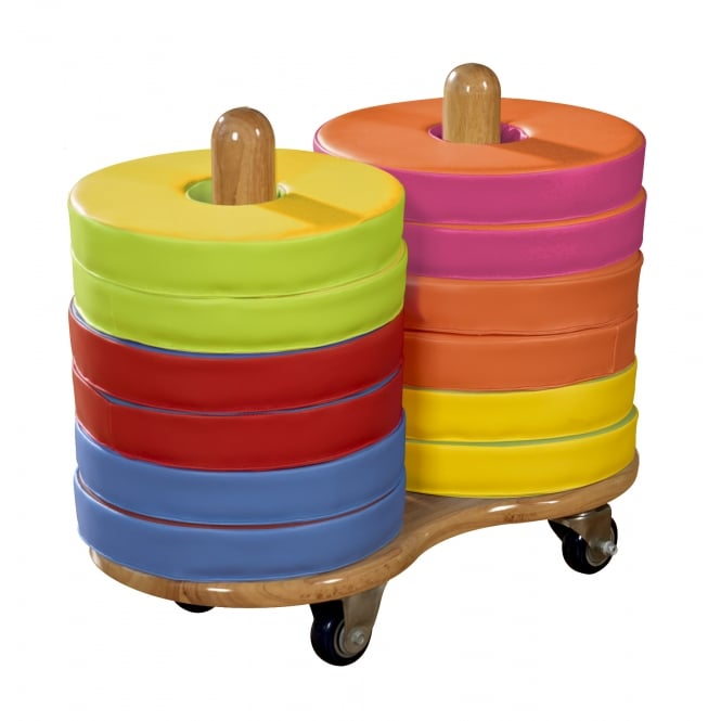 Mobile Trolley and 12 Donut Shape Floor Cushions