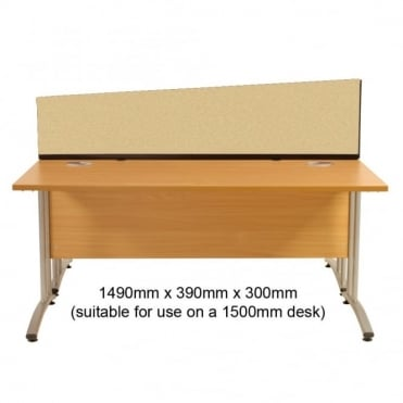 Angled Desk Mounted Partition 1490mm w x 390mm x 300mm h, Woolmix Fabric