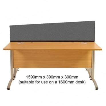 Desk Screen, Angled, 1590mm x 390mm x 300mm, Woolmix Fabric