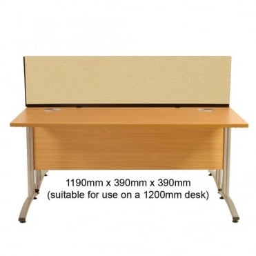 Desk Mounted Partition 1190mm w x 390mm x 390mm h, Woolmix Fabric
