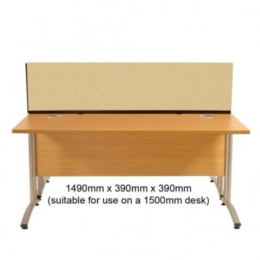 Desk Mounted Partitions 1490mm w x 390mm x 390mm h, Woolmix Fabric