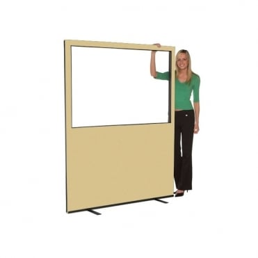 Glazed Office Partition 1500mm w x 1800 mm h, woolmix fabric