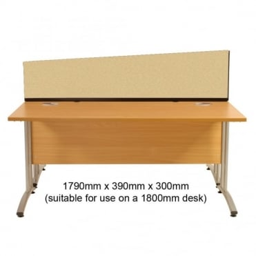 Angled Desk Mounted Partition 1790mm w x 390mm x 300mm h, Woolmix Fabric