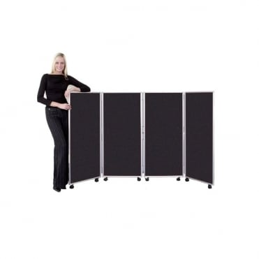 Mobile Folding Room Divider 1200mm high Woolmix Fabric