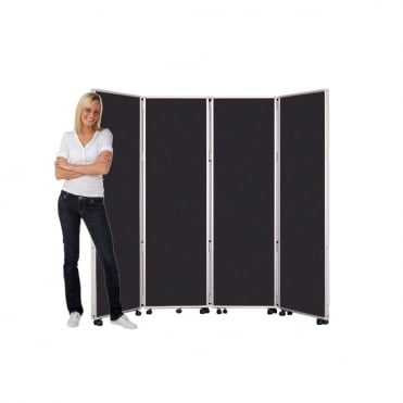 Mobile Folding Room Divider 1800mm high Woolmix Fabric