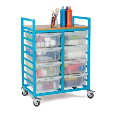 School Art Trolley with 8 Deep Trays and Lids