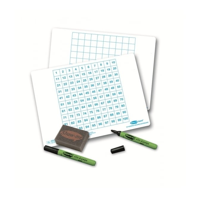 Show-me® Hundred Square Gridded Drywipe Boards Class Pack 35 Boards