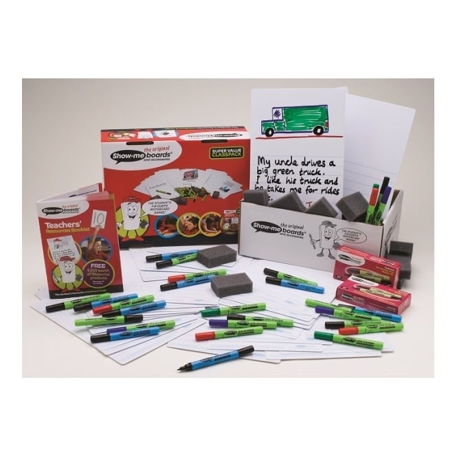 Show-me® Picture/Story Drywipe Boards Bulk Box 100 Boards